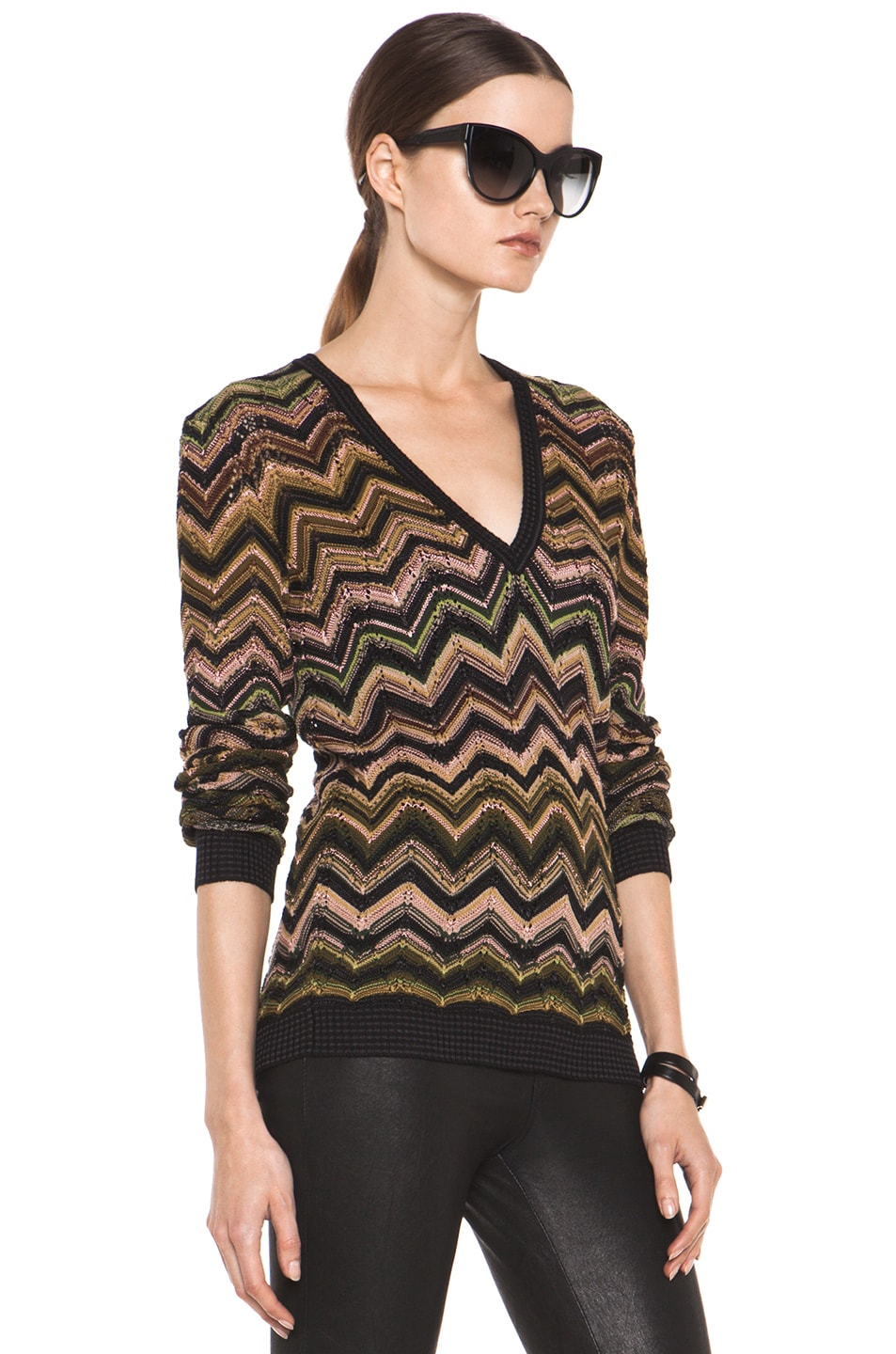 Image 3 of Missoni Fitted V Neck Sweater in Green Multi