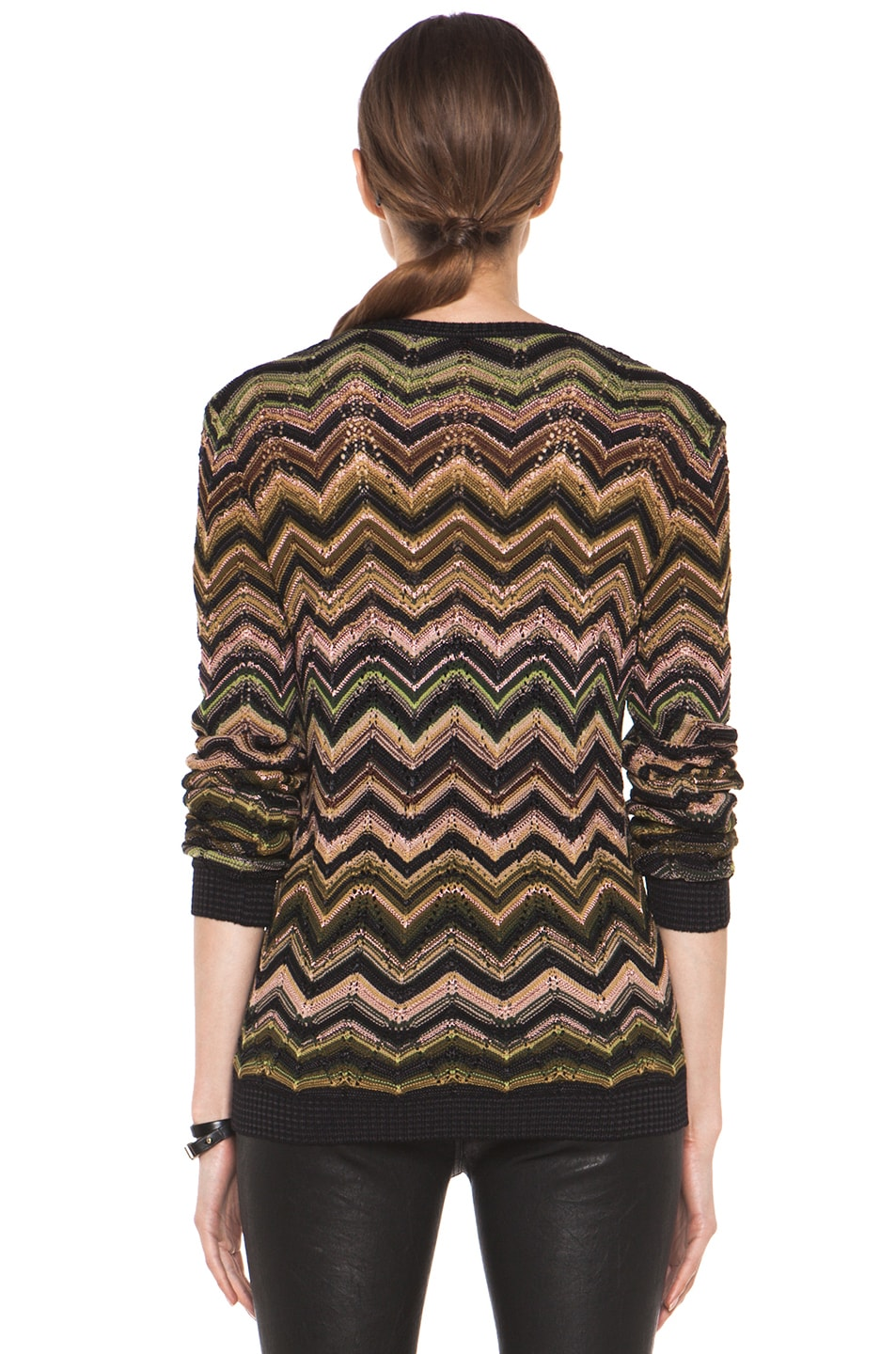 Image 4 of Missoni Fitted V Neck Sweater in Green Multi