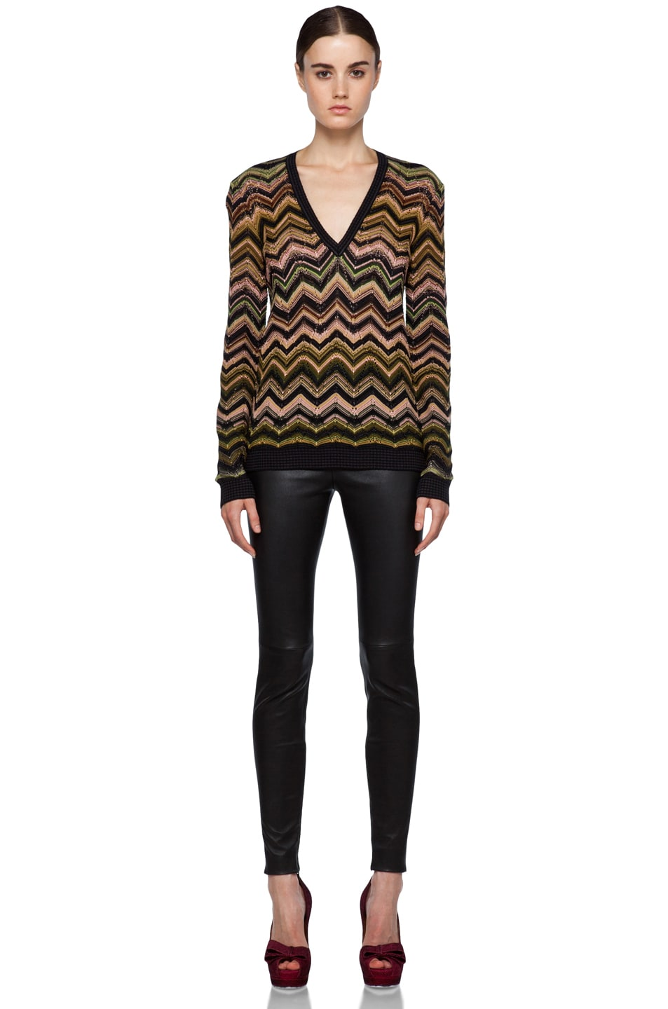Image 5 of Missoni Fitted V Neck Sweater in Green Multi