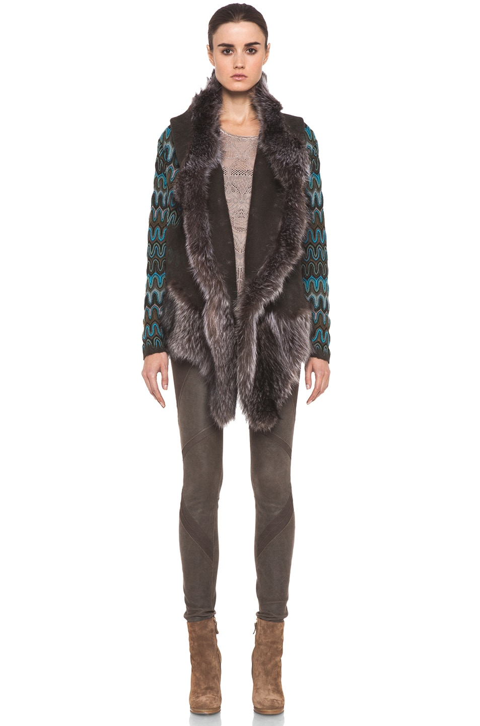 Image 1 of Missoni Fur Trim Jacket in Blue