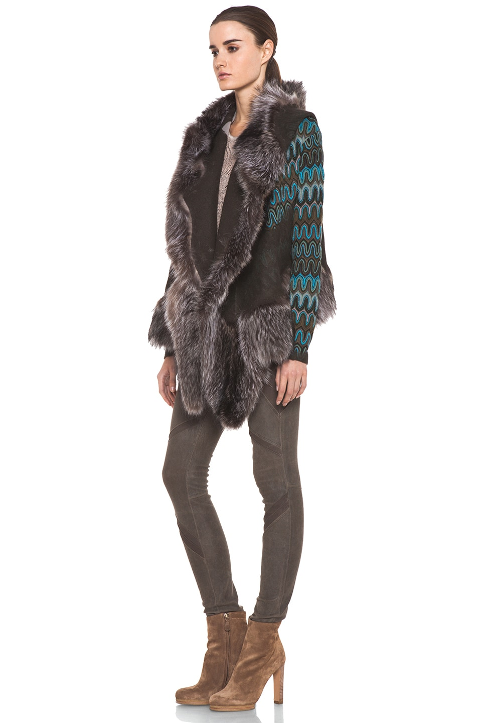 Image 2 of Missoni Fur Trim Jacket in Blue