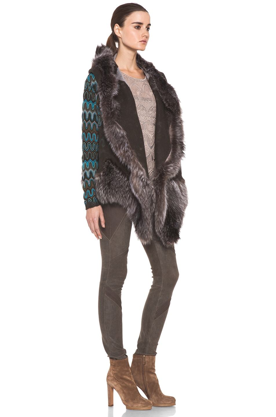 Image 3 of Missoni Fur Trim Jacket in Blue