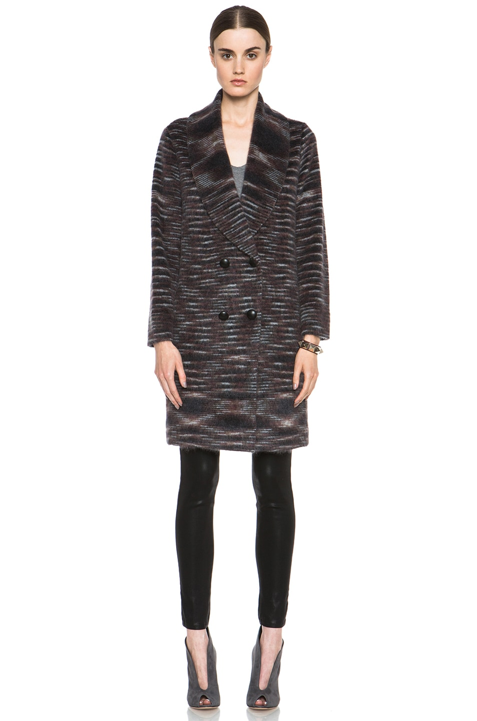 Image 2 of Missoni Striped Fuzzy Cardigan Coat in Black & Brown