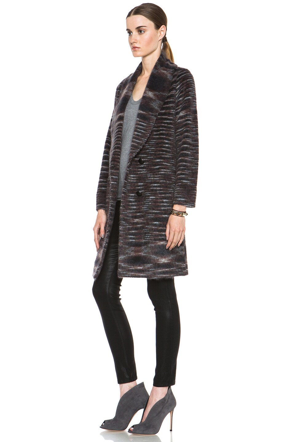 Image 3 of Missoni Striped Fuzzy Cardigan Coat in Black & Brown