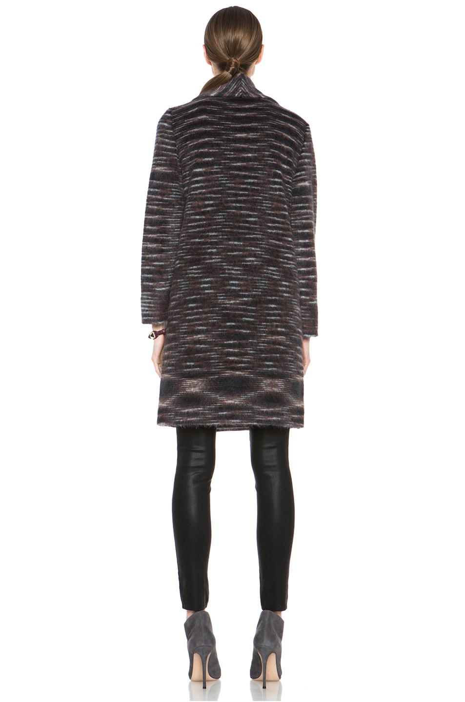 Image 5 of Missoni Striped Fuzzy Cardigan Coat in Black & Brown