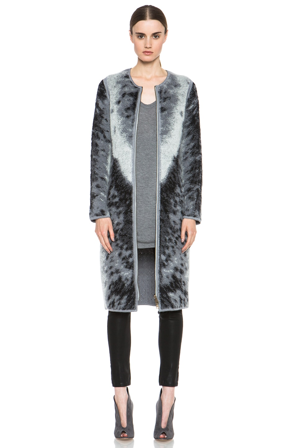 Image 1 of Missoni Mohair-Blend Cardigan Jacket in Grey Leopard & Zebra Print