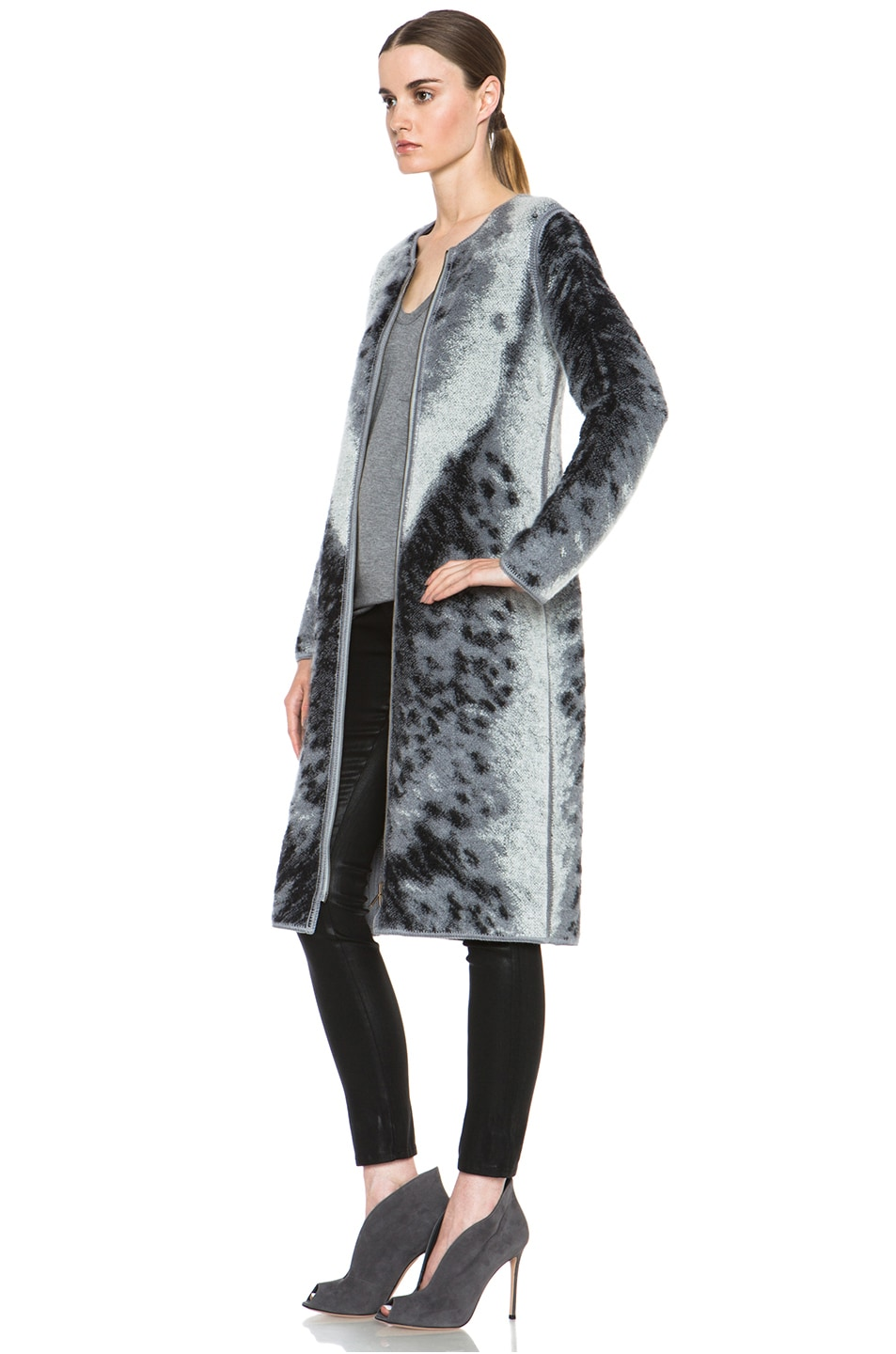 Image 3 of Missoni Mohair-Blend Cardigan Jacket in Grey Leopard & Zebra Print