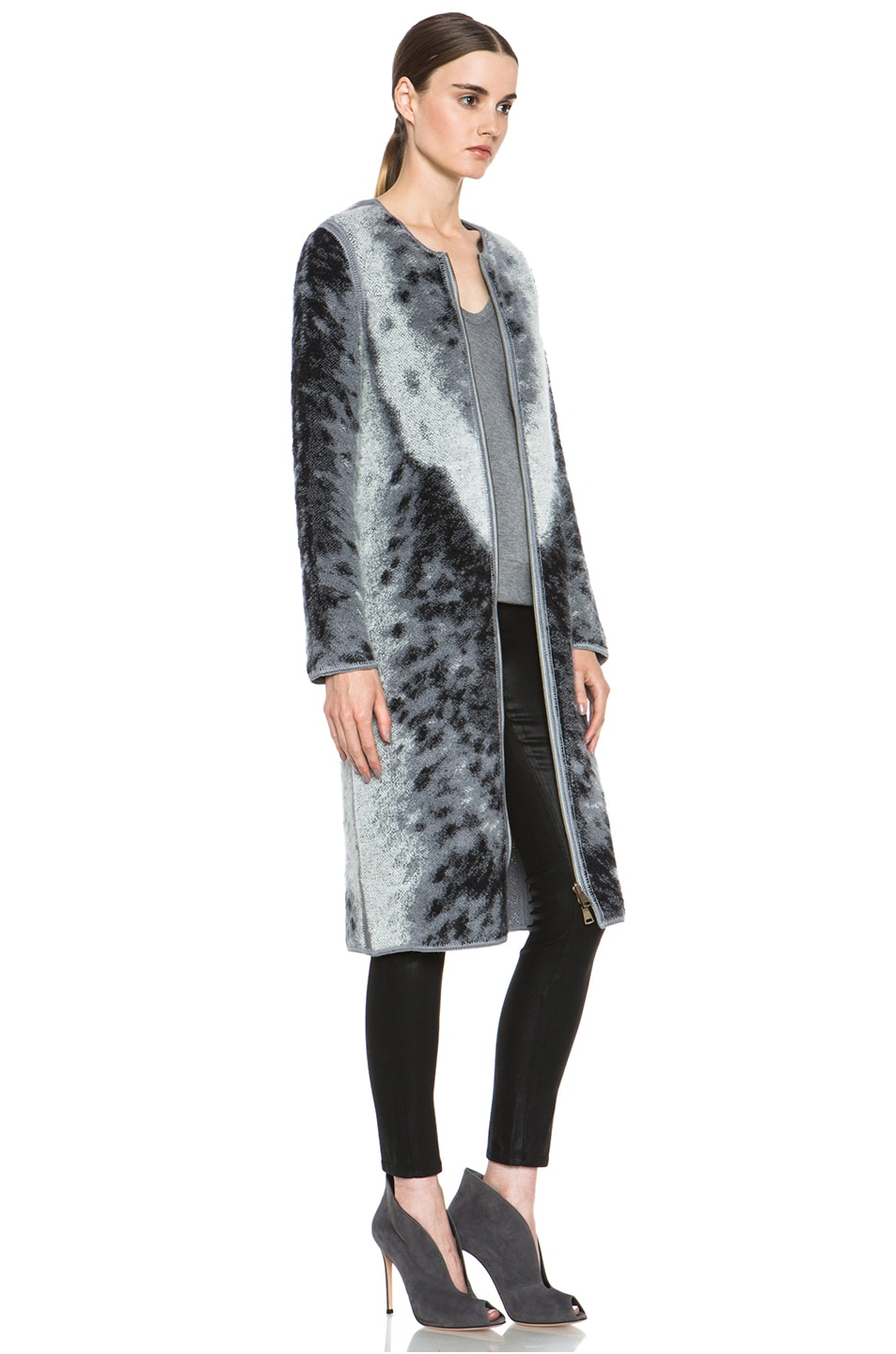 Image 4 of Missoni Mohair-Blend Cardigan Jacket in Grey Leopard & Zebra Print