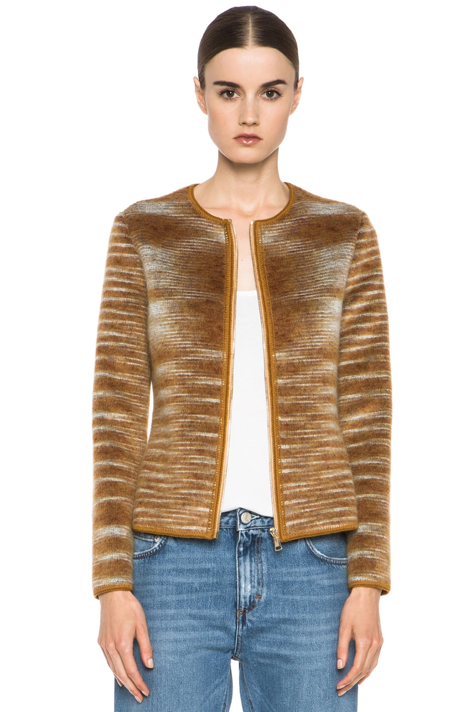 Image 1 of Missoni Cropped Mohair-Blend Cardigan Jacket in Mustard Multi