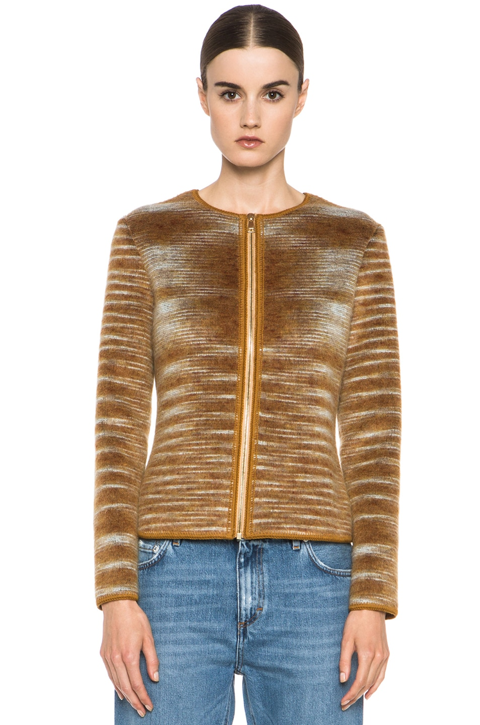 Image 2 of Missoni Cropped Mohair-Blend Cardigan Jacket in Mustard Multi