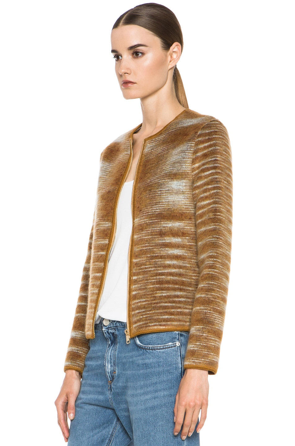 Image 3 of Missoni Cropped Mohair-Blend Cardigan Jacket in Mustard Multi