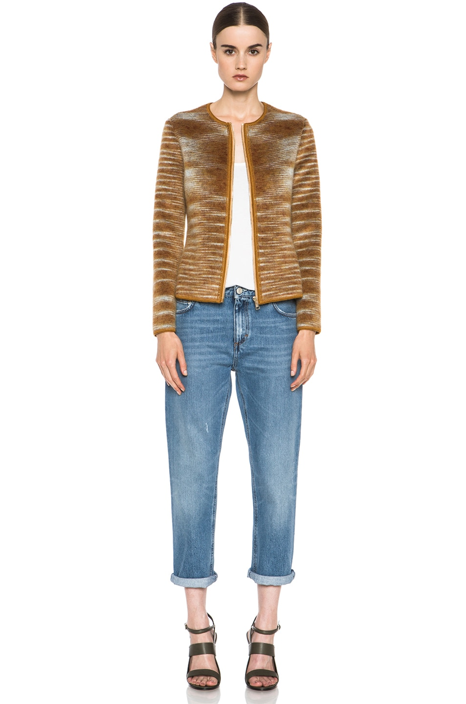 Image 6 of Missoni Cropped Mohair-Blend Cardigan Jacket in Mustard Multi