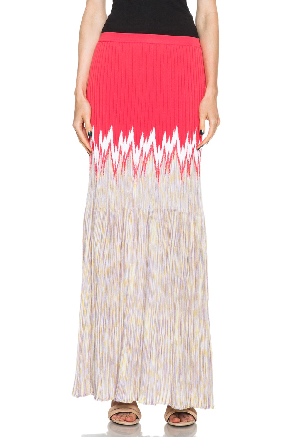 Image 1 of Missoni Cashmere-Blend Knit Skirt in Coral Multi