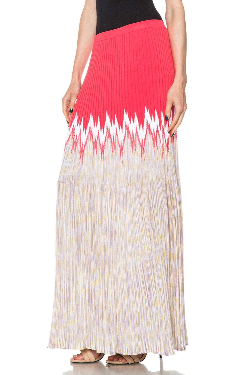 Image 2 of Missoni Cashmere-Blend Knit Skirt in Coral Multi