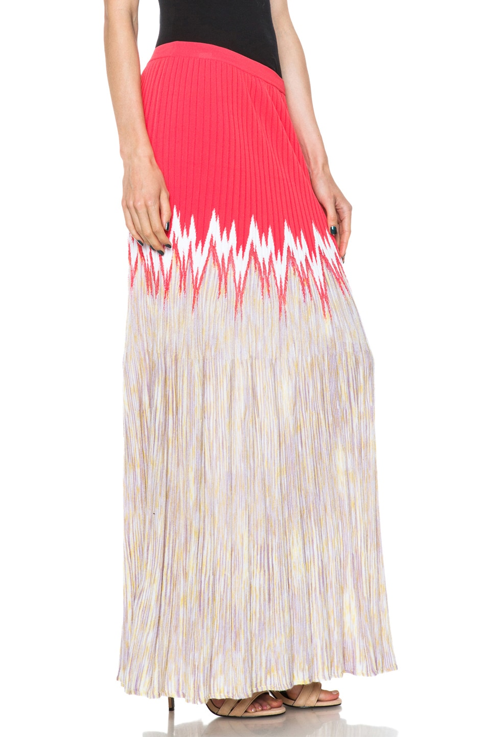 Image 3 of Missoni Cashmere-Blend Knit Skirt in Coral Multi