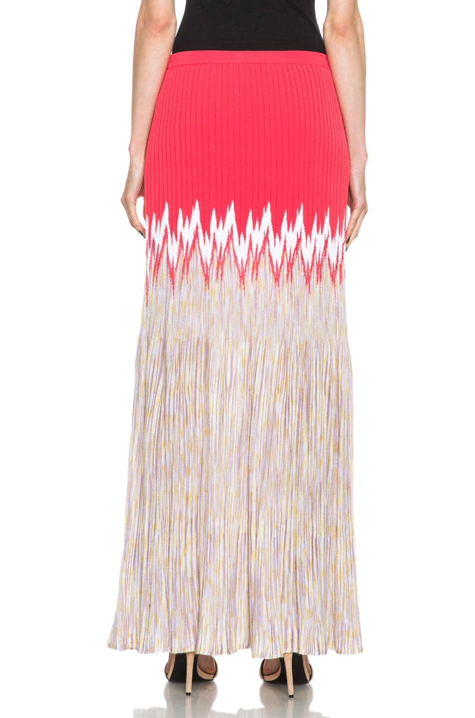 Image 4 of Missoni Cashmere-Blend Knit Skirt in Coral Multi