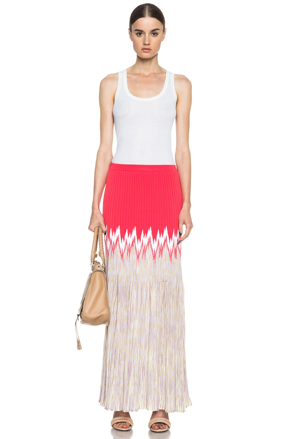 Image 5 of Missoni Cashmere-Blend Knit Skirt in Coral Multi