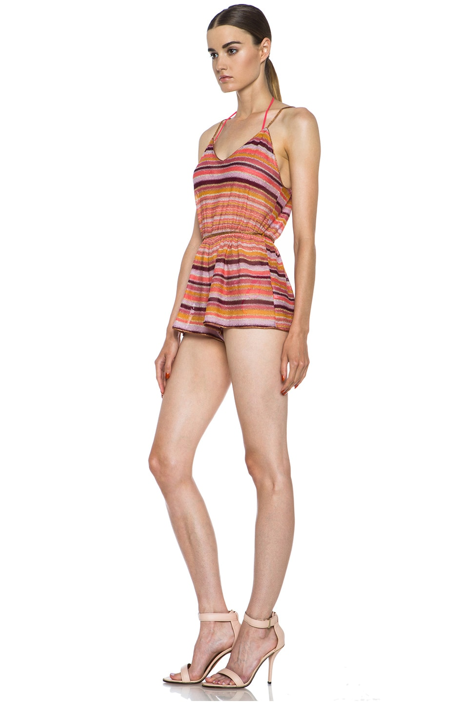 Image 2 of Missoni Short Knit Romper in Coral