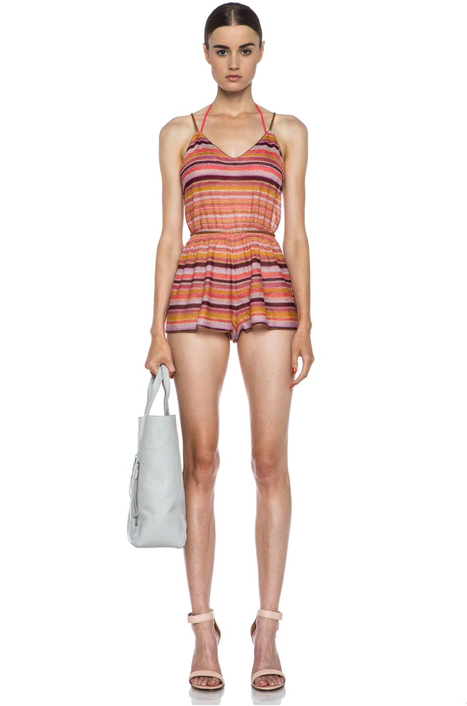 Image 5 of Missoni Short Knit Romper in Coral