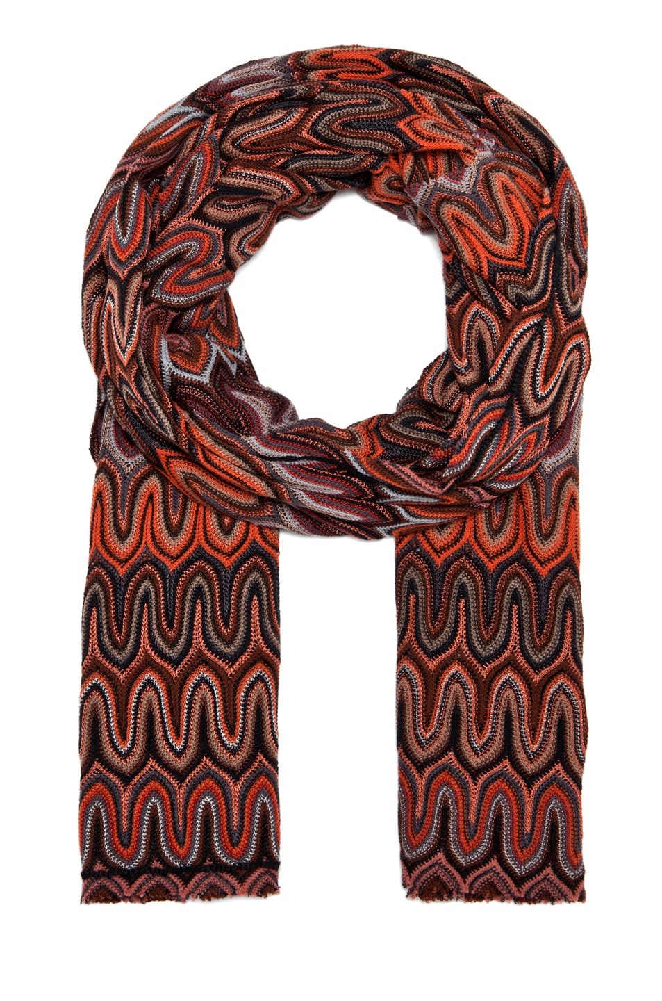 Image 1 of Missoni Zig Zag Scarf in Rust