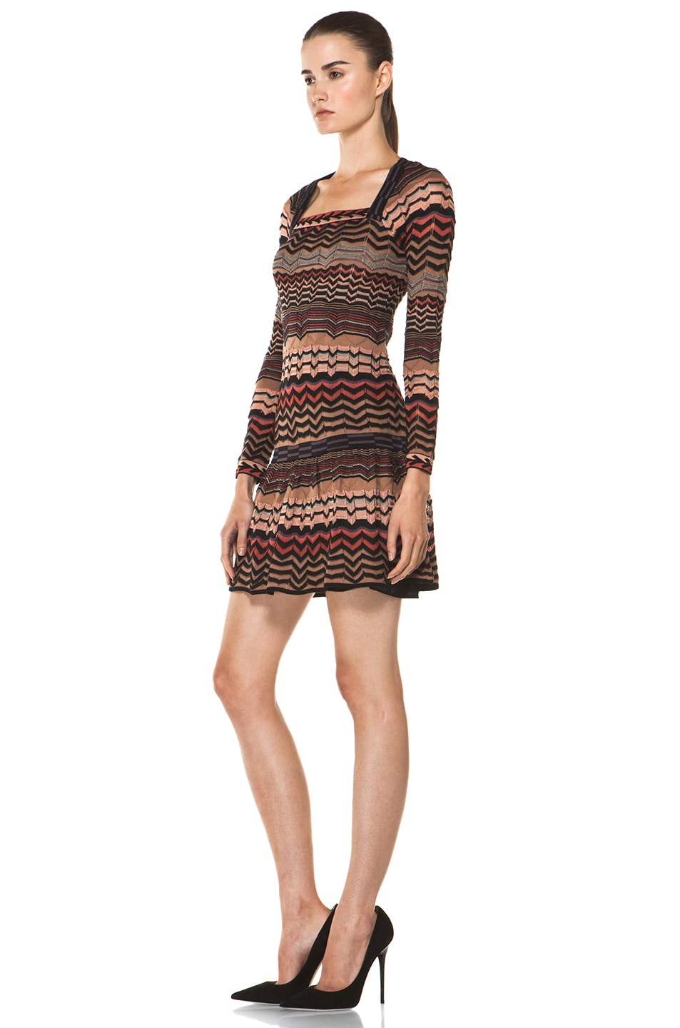Image 2 of M Missoni Small Zig Zag Dress in Brown Multi