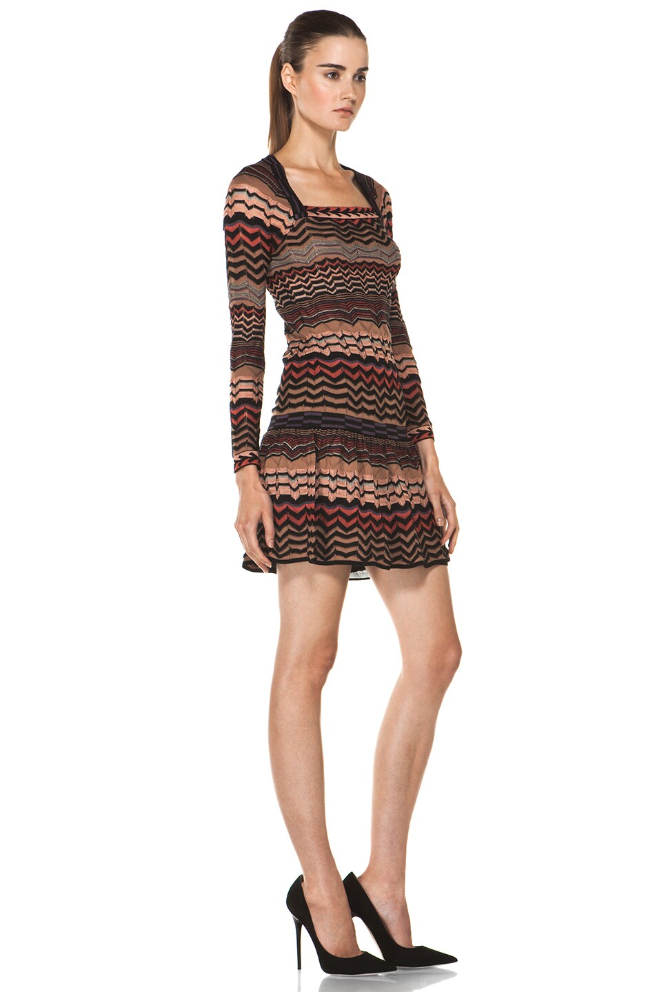 Image 3 of M Missoni Small Zig Zag Dress in Brown Multi