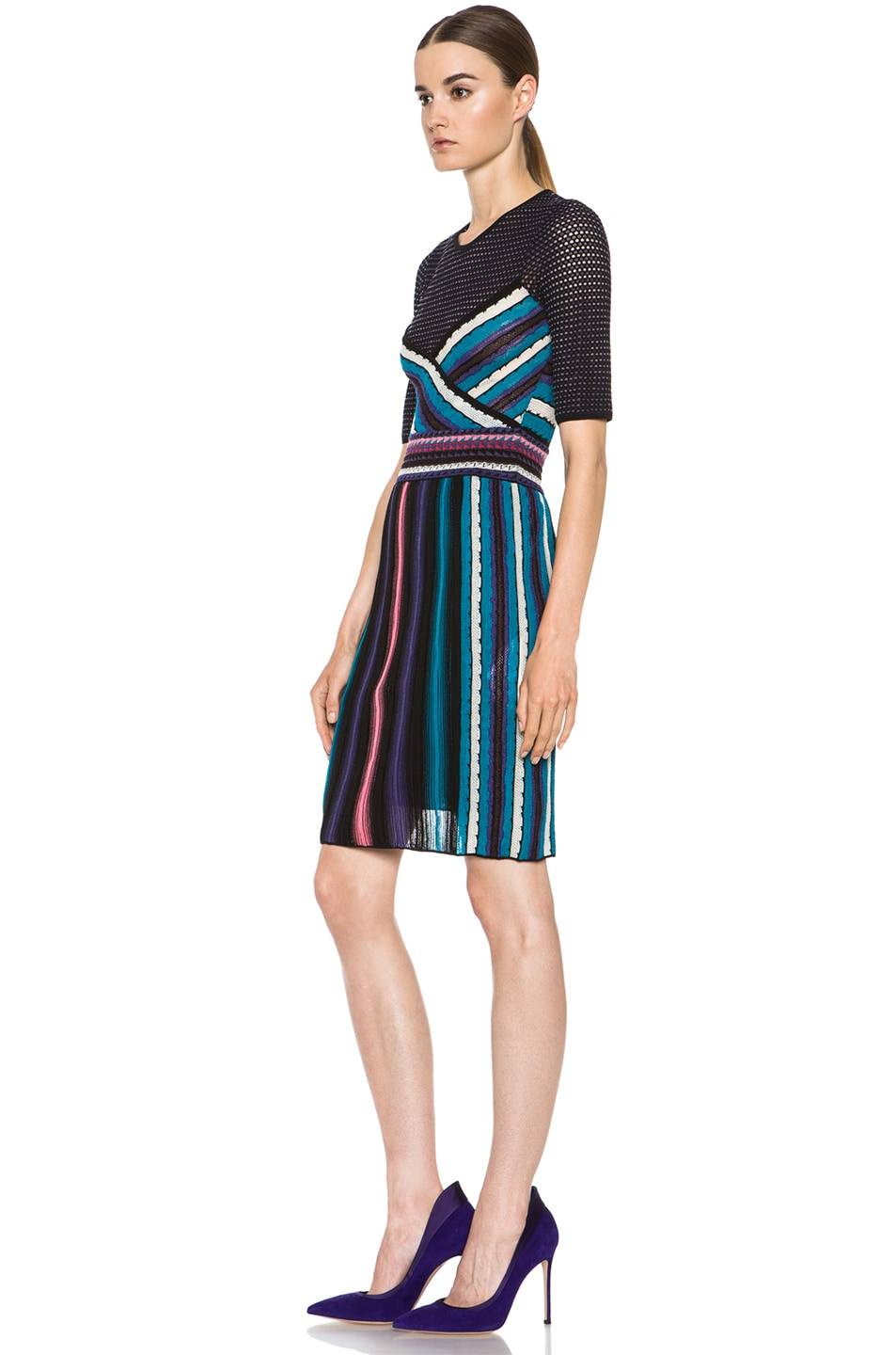 Image 2 of M Missoni Vertical Rainbow Stripe Dress in Teal