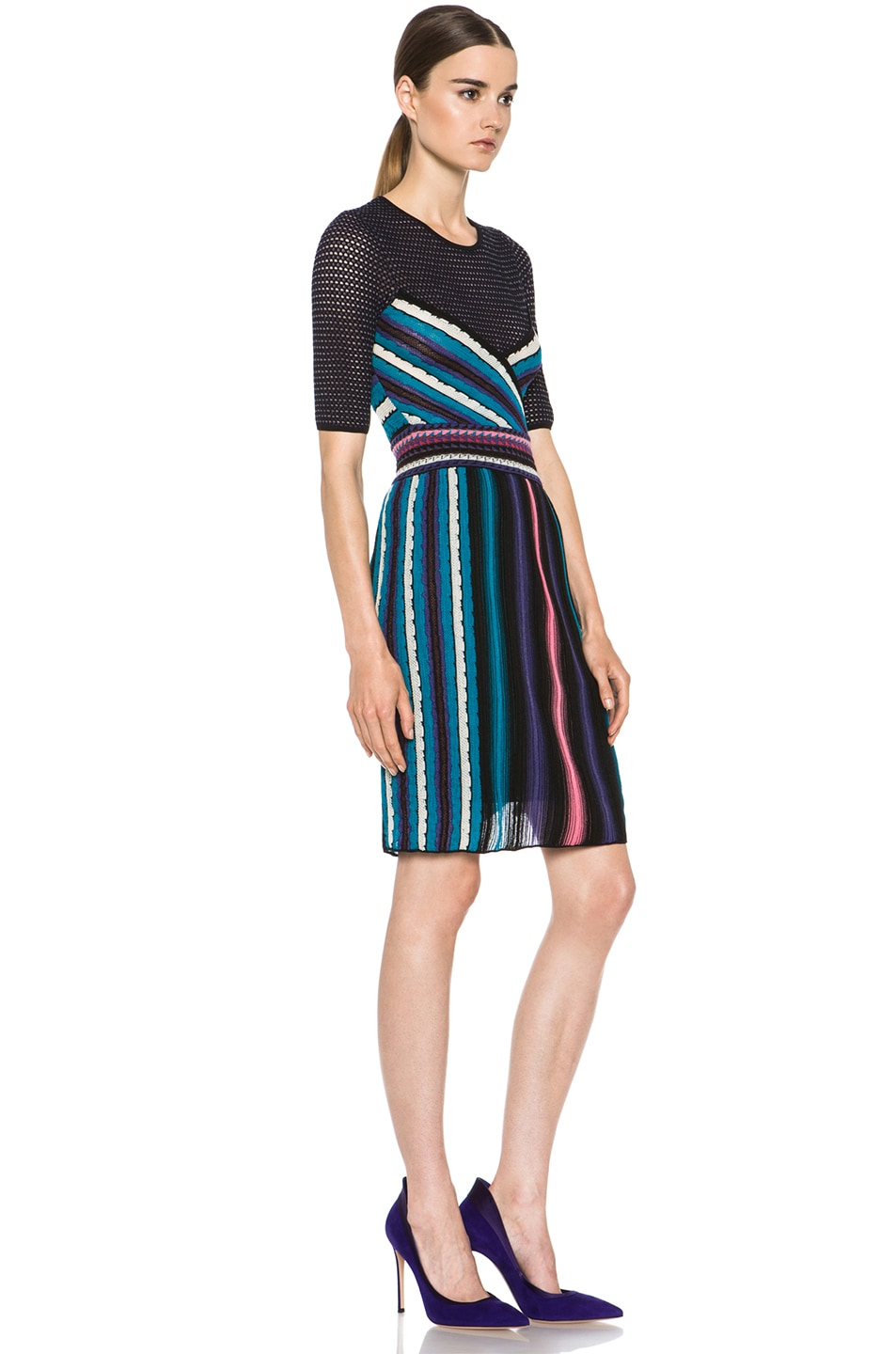 Image 3 of M Missoni Vertical Rainbow Stripe Dress in Teal