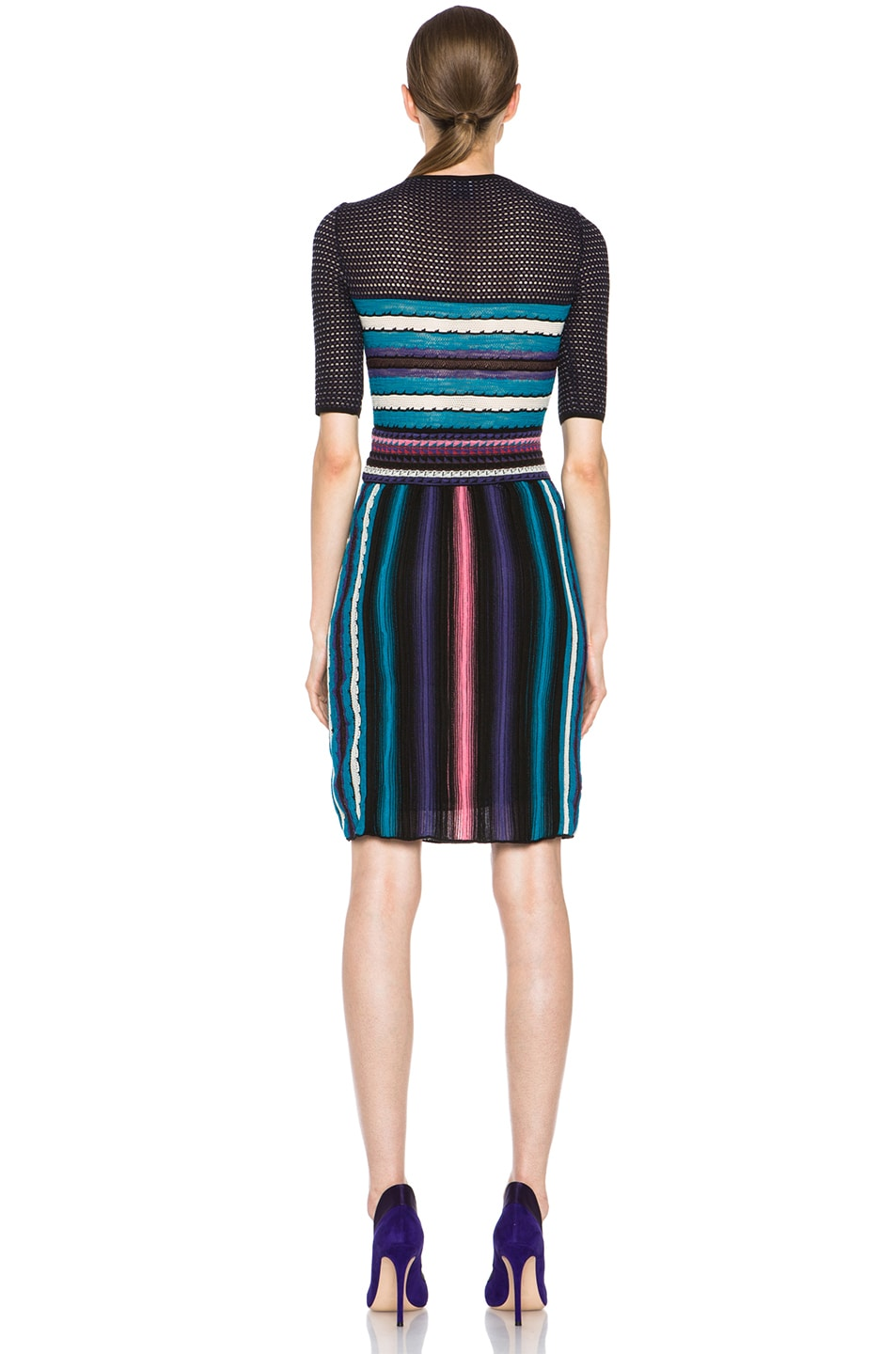 Image 4 of M Missoni Vertical Rainbow Stripe Dress in Teal