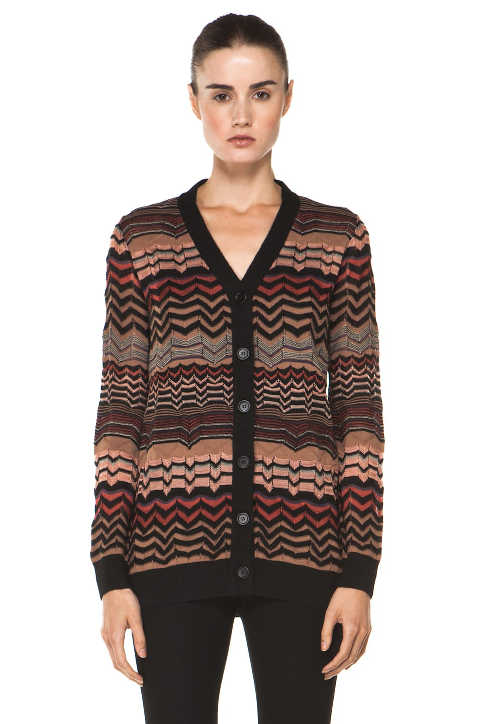 Image 2 of M Missoni Small Zig Zag Cardigan in Brown Multi