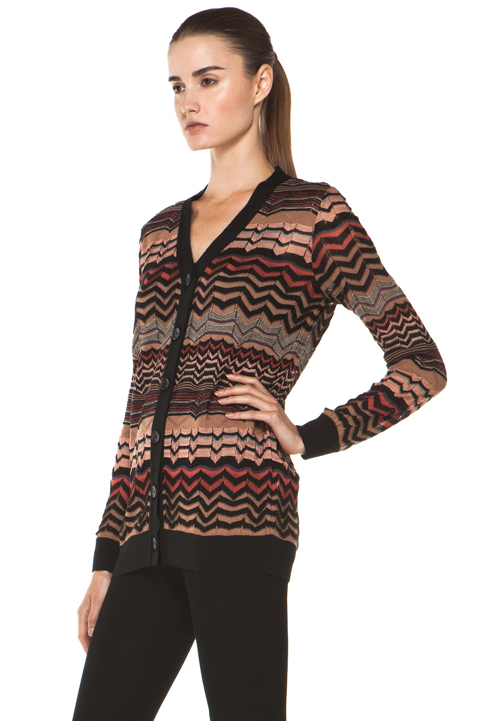 Image 3 of M Missoni Small Zig Zag Cardigan in Brown Multi