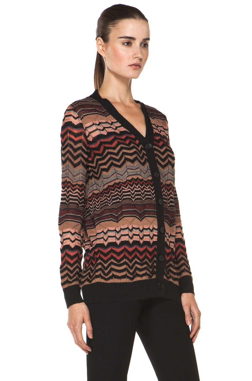 Image 4 of M Missoni Small Zig Zag Cardigan in Brown Multi