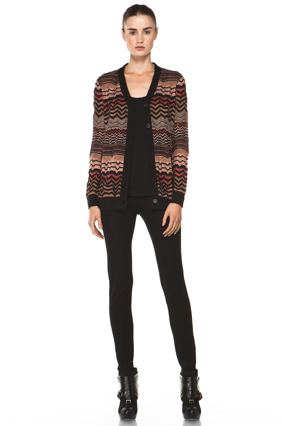 Image 6 of M Missoni Small Zig Zag Cardigan in Brown Multi