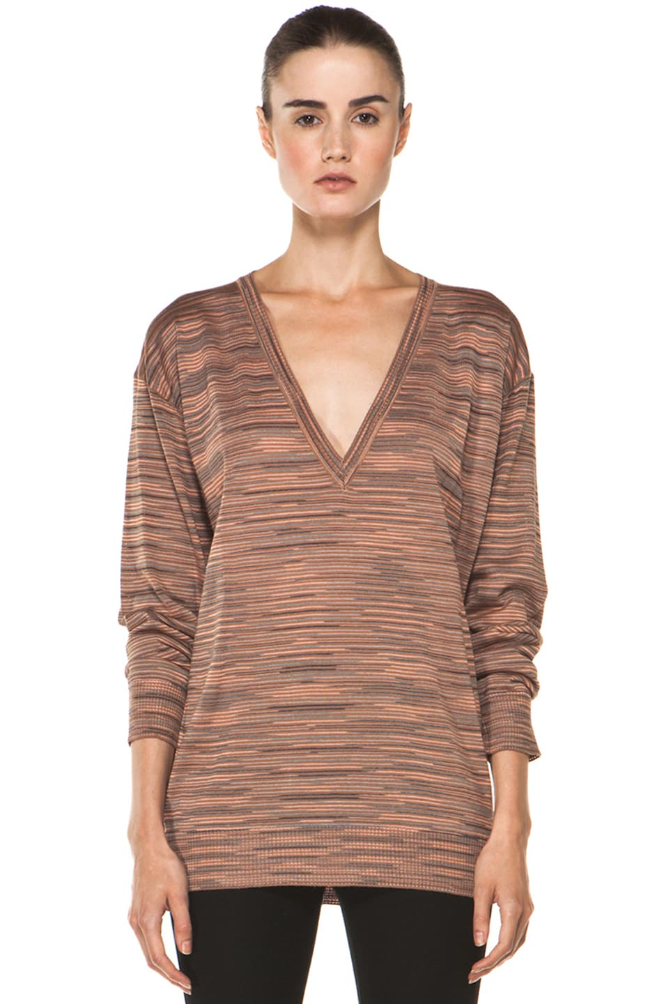 Image 1 of M Missoni Ribbed Spacedye Sweater in Salmon