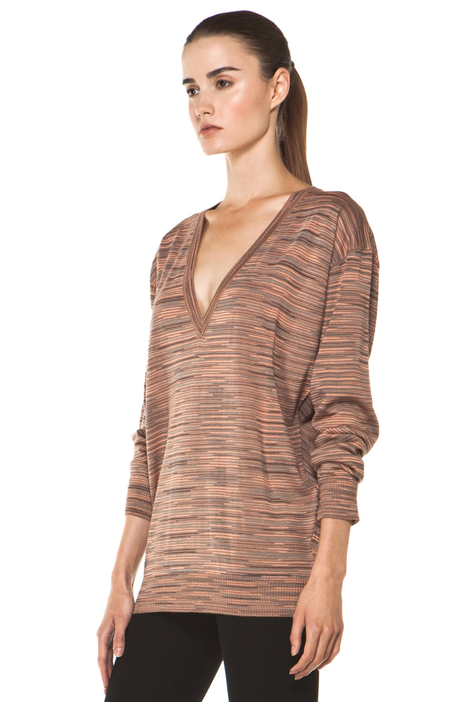 Image 2 of M Missoni Ribbed Spacedye Sweater in Salmon