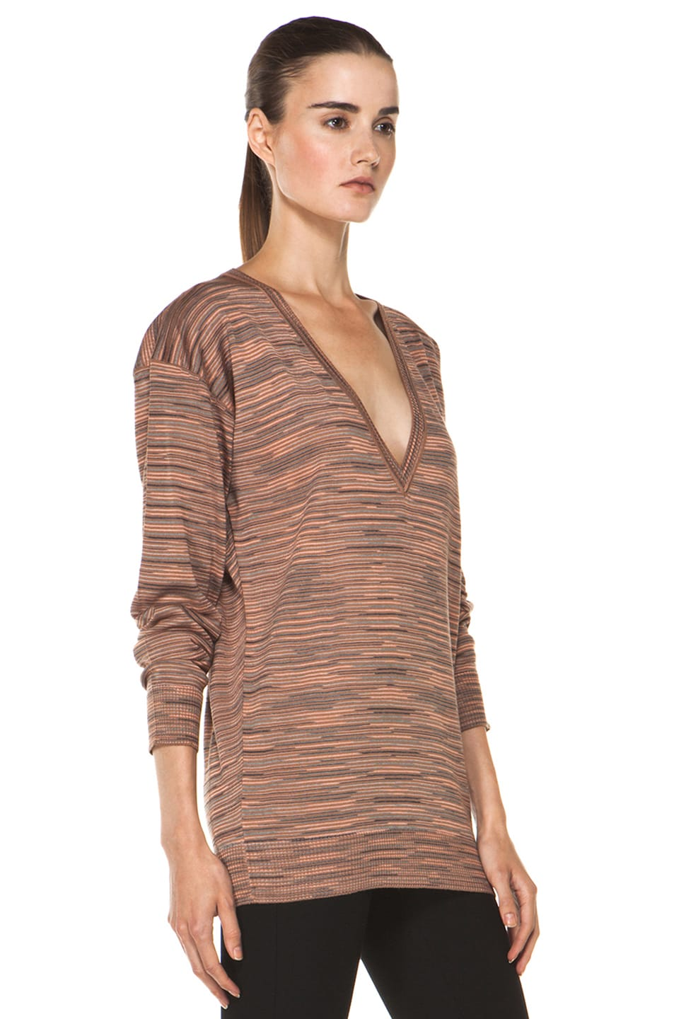 Image 3 of M Missoni Ribbed Spacedye Sweater in Salmon