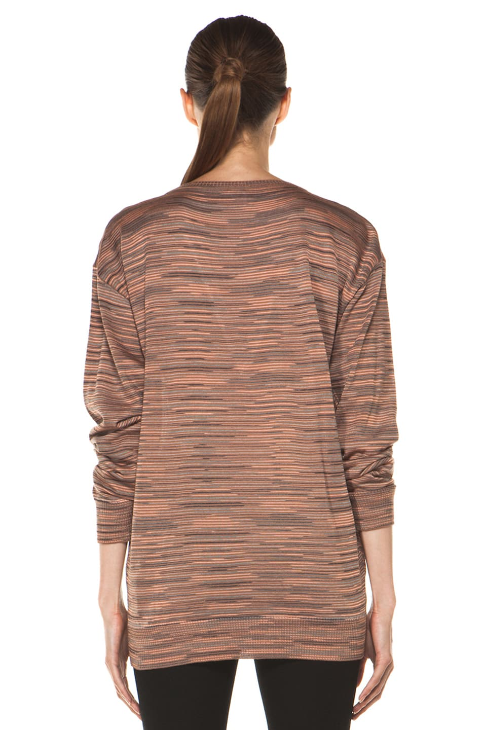Image 4 of M Missoni Ribbed Spacedye Sweater in Salmon