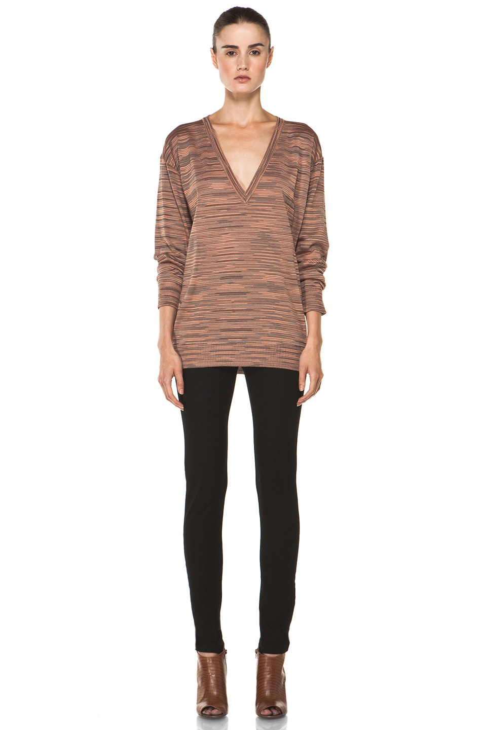 Image 5 of M Missoni Ribbed Spacedye Sweater in Salmon
