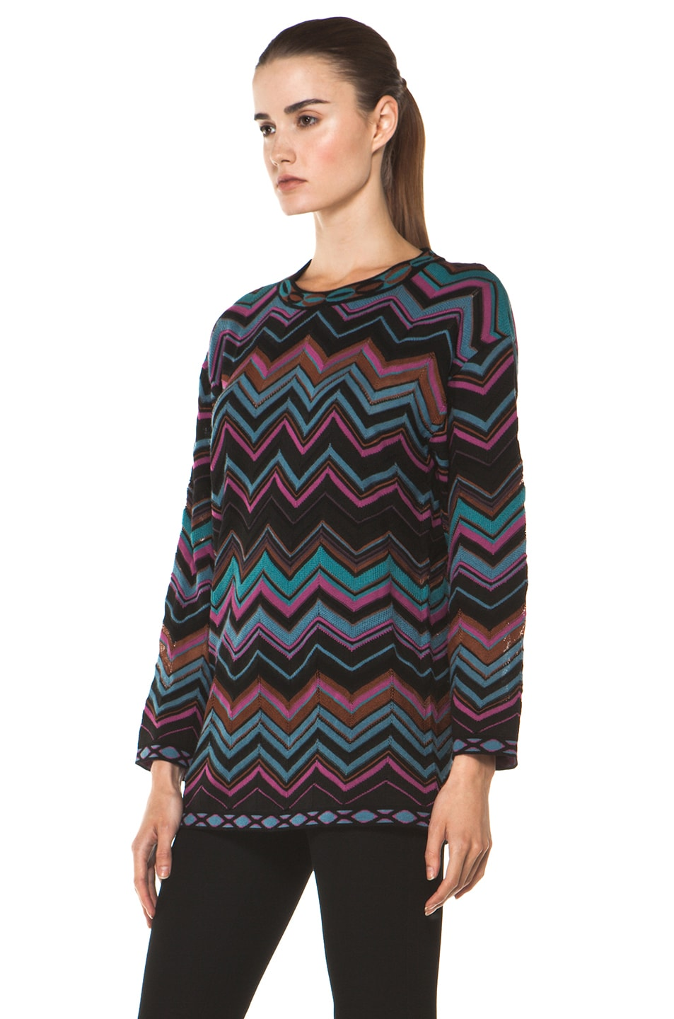Image 2 of M Missoni Oversized Pullover Sweater in Blue Multi