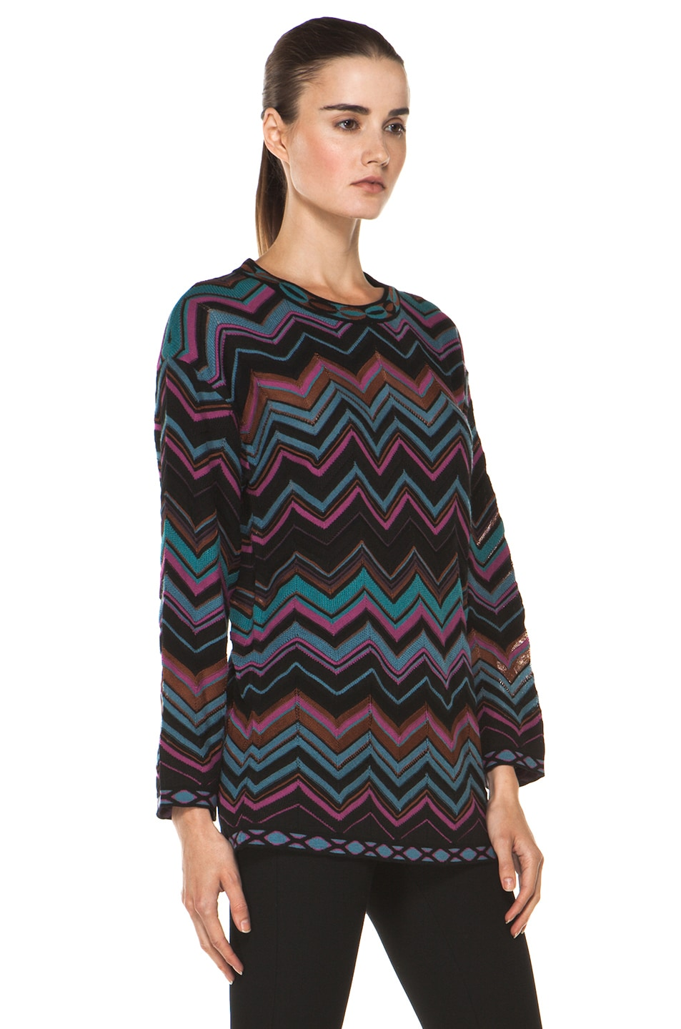 Image 3 of M Missoni Oversized Pullover Sweater in Blue Multi