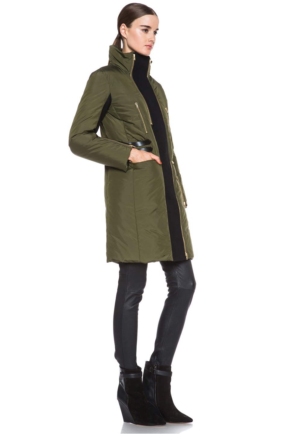 Image 4 of Missoni Solid Poly Puffer Coat in Sage