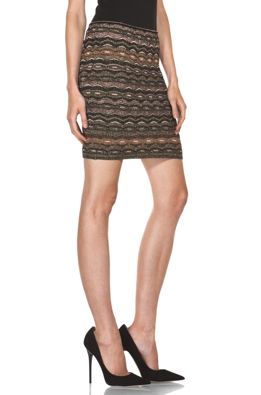 Image 3 of M Missoni Lurex Zig Zag Short Tube Skirt in Black Gold
