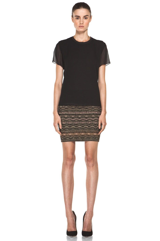 Image 5 of M Missoni Lurex Zig Zag Short Tube Skirt in Black Gold