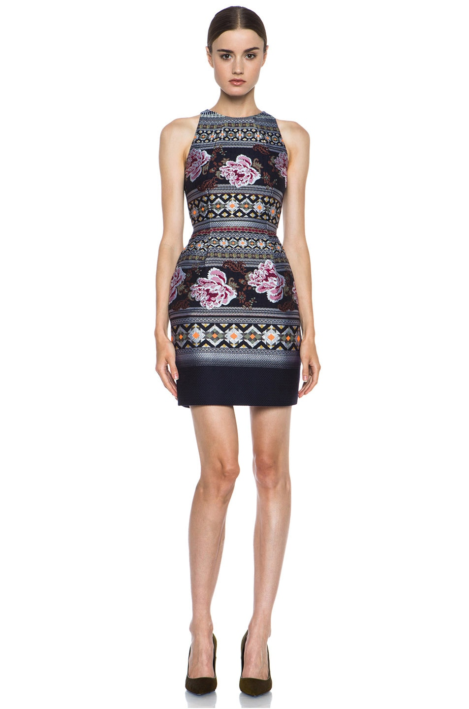 Image 1 of Matthew Williamson Floral Folk Weave Mini Wool-Blend Cocktail Dress in Navy