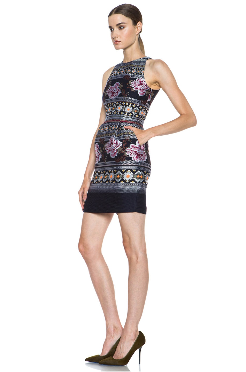 Image 2 of Matthew Williamson Floral Folk Weave Mini Wool-Blend Cocktail Dress in Navy