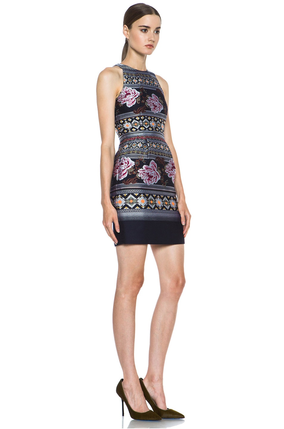 Image 3 of Matthew Williamson Floral Folk Weave Mini Wool-Blend Cocktail Dress in Navy