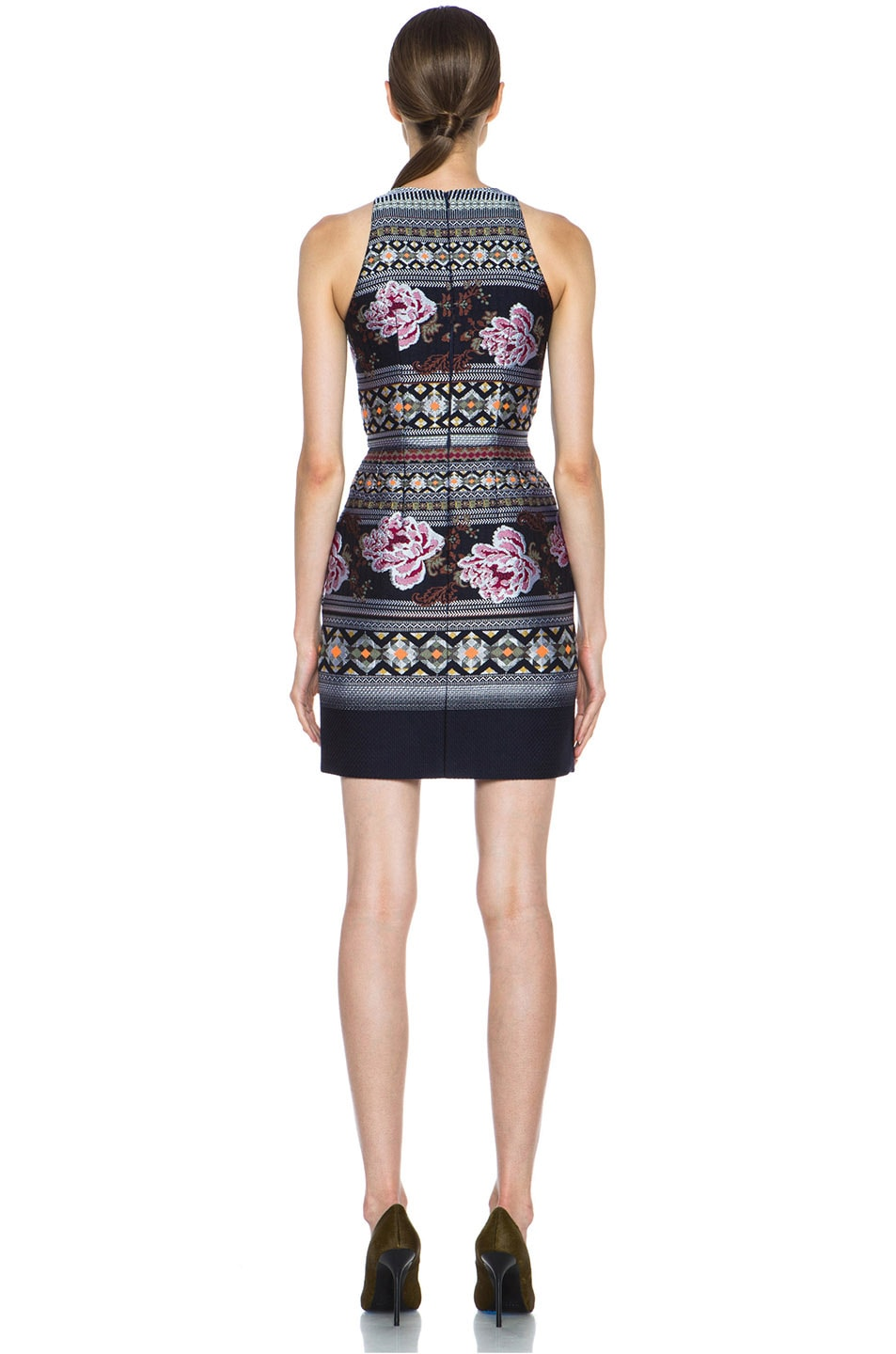 Image 4 of Matthew Williamson Floral Folk Weave Mini Wool-Blend Cocktail Dress in Navy