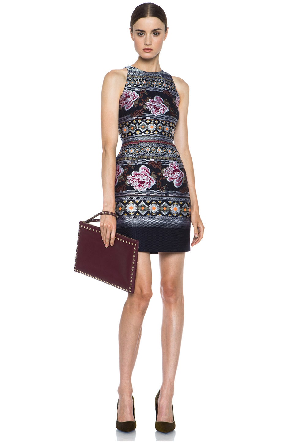Image 5 of Matthew Williamson Floral Folk Weave Mini Wool-Blend Cocktail Dress in Navy