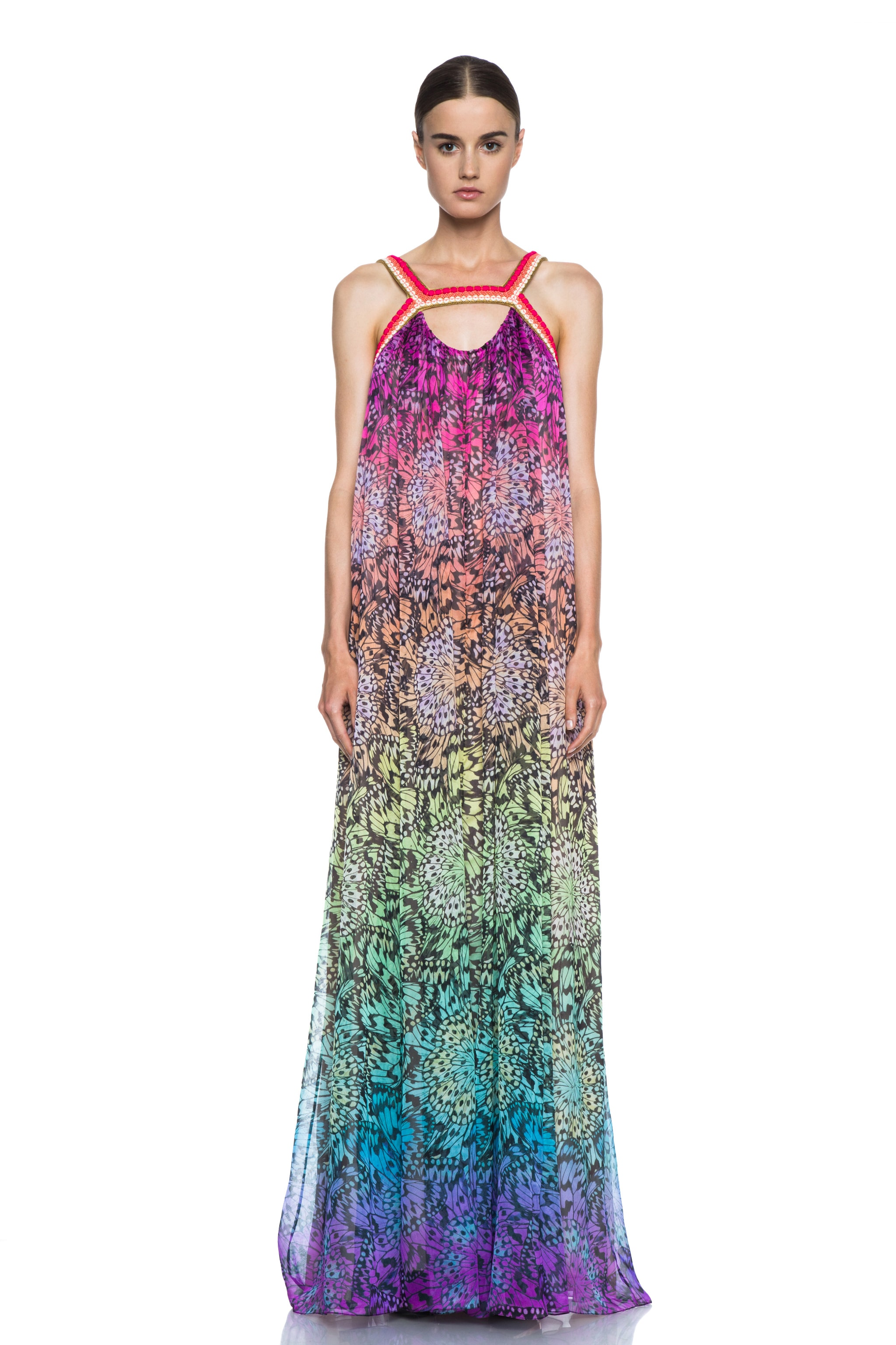 Image 1 of Matthew Williamson Butterfly Mousseline Embroidered Silk Gown in Rainbow