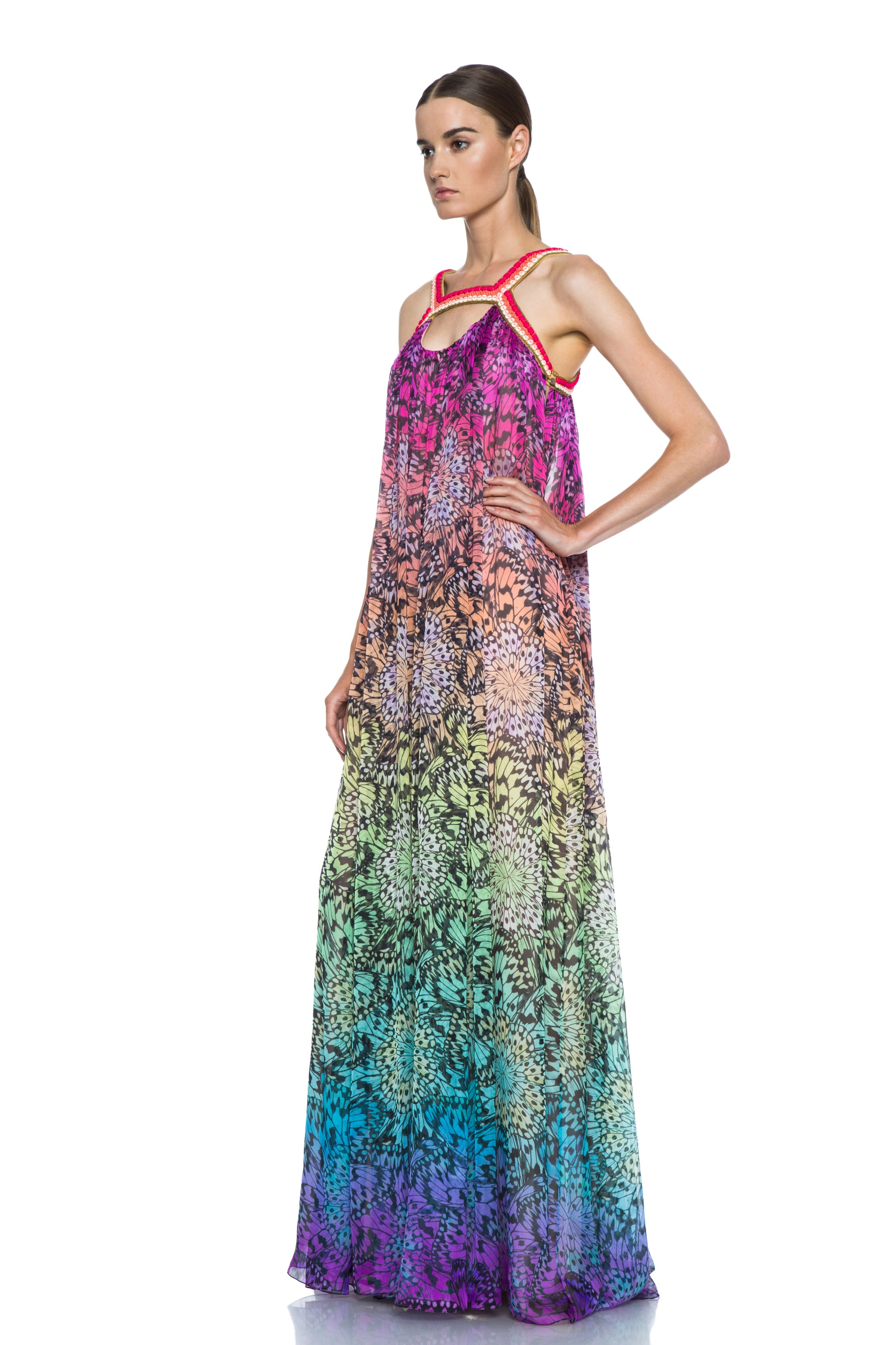 Image 2 of Matthew Williamson Butterfly Mousseline Embroidered Silk Gown in Rainbow